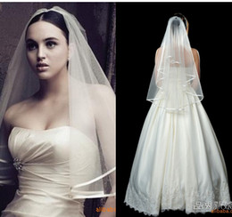 Wholesale Ribbon Accesories - Simple And Cheap Wedding Accesories Wedding Veils Ribbon Edge Veu De Noiva Vintage White Bridal Veils