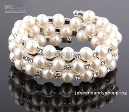 Wholesale Wedding Tennis - New Hand Made Pearl Bracelet Wedding Bridal Jewelry 3 Row Pearl Fashion Wedding Czech Crystal Women bead cuff Ivory Bracelet H1