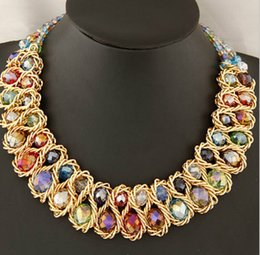 Wholesale Crystal Glass Faceted Stones - New beaded faceted glass stones statement necklace AB finish free shipping