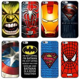 Wholesale Superman Covers - Ultra Slim Superman hero Phone Case For iphone X 7 8 Plus TPU Soft Case Ironman Spiderman Captain American Covers Free Shipping