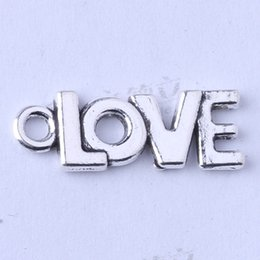 Wholesale Wholesale Word Pendants - LOVE word Pendant antique Silver bronze DIY Jewelry fit Necklace 20.6*7.7mm Zinc alloy charms 400pcs lot 3450