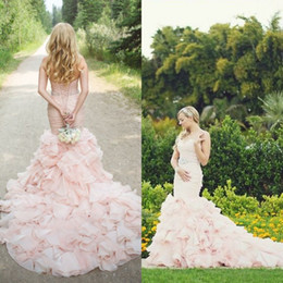 Wholesale Corset Top Mermaid Wedding Dress - Fabulous Blush Pink Wedding Dresses Mermaid Style Ruched Top Ruffles Skirt Colorful Bridal Gowns Corset Back Crystals Belt Sweetheart Neck