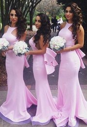 Wholesale Dresses Long Layers - Sexy Pink Mermaid Beach Bridesmaid Dresses 2016 Layers Train Maid of the Honor Dress Vestido Madrinha Evening Dress Prom Dress