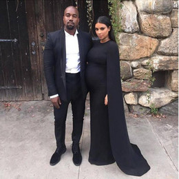 Wholesale Kim Kardashian Red Carpet - 2016 Noble Black Kim Kardashian Pregnant Women Prom Dresses With Long Shawl Floor Length Special Occassion Dress Maternity Evening Gowns
