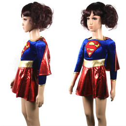 Wholesale Sexy Super Man Cosplay - hero 2017 new free shipping child supergirl Sexy girl super hero costume cosplay party for super girl costume kids superman dress