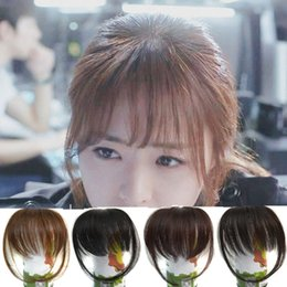 Wholesale Clip Fringe Bangs - Sara Shuangbin Bang Clip in Bangs Fringe Frange Franja Brown & Black Bangs Front Hair Extensiones Synthetic Hair Piece Hairpiece