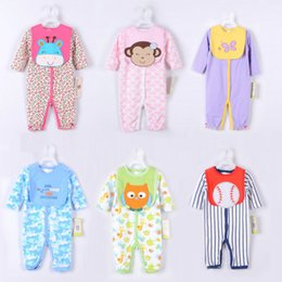 Wholesale Wholesale Long Sleeve Rompers - Infant Apparel Super Cute Cartoon Rompers Sets New Born Baby Long Sleeved Romers With Pinafore Full Cotton Baby Kids Clothing Babywear 9511