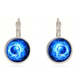 Wholesale Planet Earrings - Charming fashion earrings vintage jewelry Art exclusive picture nebula galaxy planet a couple hand cabochon pendant glass earring