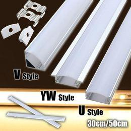 Wholesale Led Flashlight 12v - 30 50cm U V YW-Style Shaped Aluminum LED Bar Lights Accessories Channel Holder Milk Cover End Up for LED Strip Light
