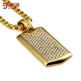 Wholesale Dog Bling Charms - 2016 New Hip Hop Titanium Steel Dog Tag Pendant Full Crystal Cz Iced Out Army Charm Necklaces Cuban Link Chain Bling Bling Jewelry