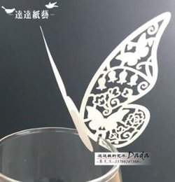 Wholesale Laser Products Wholesalers - 200 Pieces Multicolor Table Mark Wine Glass Laser Cut Butterfly Name Place Cards for Wedding Party Decoration Products 13