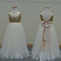Wholesale Graduation Dress Sparkly - Real Sample High Quality Flower Girls Dresses Sparkly Gold Sequins Kids Long Formal Wedding Party Gowns Sleeveless Open Back Bow Sash