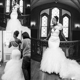 Wholesale Shoulder Straps Made Beads - Sexy One Shoulder Plus Size Wedding Dresses 2017 Sheer Neck Tulle Beaded Mermaid Court Train Bridal Gowns African Customized Wedding Dresses
