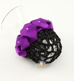 Wholesale Hair Clip Snood Net - Diamante Scrunchie Type Crochet Hair Snood Bun Net Cover with Small Claw Clips attached Handstitched Hair Holder Decor
