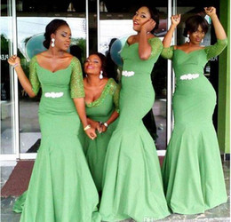 aqua mermaid dresses Promo Codes - African Style Cheap Mermaid Bridesmaid Dresses Aqua Green Bridesmaids Dresses Half Long Sleeves Crystal Maids Honor Gowns For Weddings