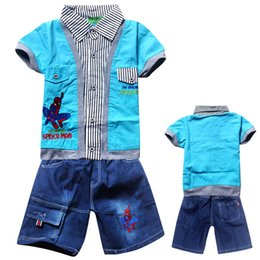 Wholesale Boys Size 6t Clothes - 2016 Minnie Mouse Children Clothing Spiderman Small And Medium-sized Children Spider Man False Two Piece Suit 668 Boys Jeans