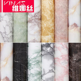 Wholesale Kitchen Oil Proof Wallpapers - Thick marble stove renovation stickers self-adhesive surface wallpaper water and oil repellency wall cabinet furniture cabinets tables-424