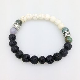 Wholesale White Volcanic Stone Jewelry - SN0056 Men's black lava stones pyrite and white Howlite calming healing stones healing jewelry volcanic stone bracelet