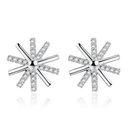 Wholesale 925 Sun Earrings - White Gold Sun Flower Stud Earrings Sunlight Female Silver Jewelry Korean Women Flowers Seiko Cubic Zircon Stud Earrings 925-Sterling-Silver