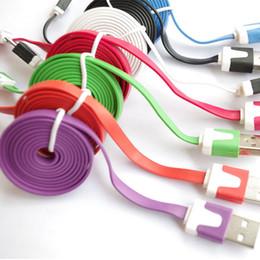 Cable plano del teléfono celular online-Sincronización de datos del cable micro USB plano de Noodle que carga los cables 1M V8 para los cables del teléfono celular Samsung