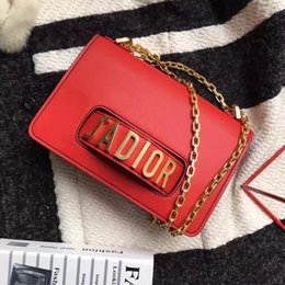 Wholesale Box Leather Bag - J'ADIOR Flap Bag with Chain in Calfskin Leather Carried in Hand Aged Gold-Tone Metal Jewellery come with dust bag+Box Free Shipping