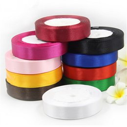 Wholesale Wholesale Polyester Webbing - Cotton 25mm 25 Yard Silk Satin Organza Polyester Ribbon For DIY Wedding Party Decoration Webbing Crafts Gift Packing Belt Merry Christmas