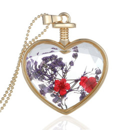 Wholesale Heart Shaped Glass Pendants - Fashion Jewelry Romantic Crystal Glass Heart Shape Floating Locket Dried Flower Plant Pendant Chain Necklace for Women Girls