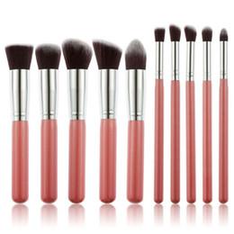 Wholesale Kits Maquillaje - Mybasy 10pcs Fashion Silver And Gold Makeup Brush Set Professional Soft Hair Cosmetic Eyebrow Shadow Tool Kit pinceles de maquillaje 18cm