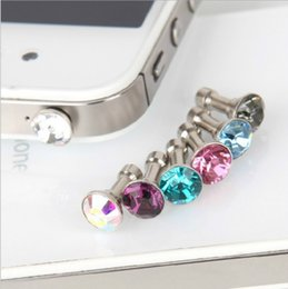 tomada de telefone grátis Desconto Telefone celular Anti Poeira Plug Dustproof Crystal Diamond 3.5mm Fone de Ouvido Jack Plug FRETE GRÁTIS POR ATACADO