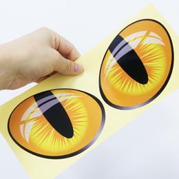 motor de vinilo Rebajas OTOKIT 2 unids / Par Lindo Simulación Ojos de Gato Pegatinas de Coches 3D Vinyl Decal Car Head Cubierta Del Motor Espejo Retrovisor Windows Decoración