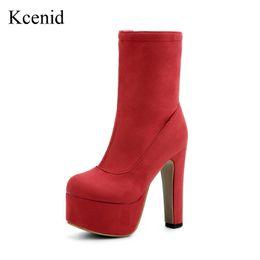 Wholesale Super High Platform Wedges - wholesale  Larger size 33-48 flock shoes woman red boots autumn winter platform pumps women ankle boots super high heels short boots