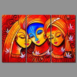 Retro caliente rojo 3 unids figura sala de estar decoración india mujer amorosa impresión de la lona pintura arte de la pared cuadros decoración del hogar sin enmarcar desde fabricantes