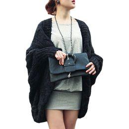 Wholesale ladies sweater shawls - Wholesale- Fall Winter New Women Sweaters Knited Cardigan Sweater Bat Sleeve Loose Shawl Ladies Thick Coat Vestidos LXJ031