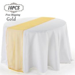 """Wholesale Wholesale Sheer Fabrics - Free shipping 10 Sheer Organza Table Runner 12"""" x 108"""" Table runners Wedding Party Banquet Decoration 30cm*275cm Each One Organza Fabric"""