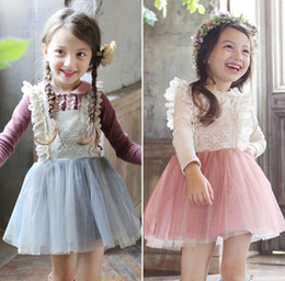Wholesale Ligth Blue - Wholesale- Baby Kids Cute Mesh Suspend Dresses Princess Girls Fairy Sweet Bow Dress Pink Ligth Blue 5 pcs lo Wholesale