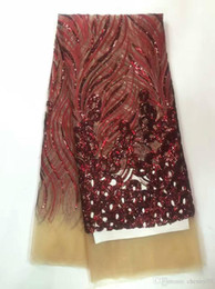 Wholesale Net French Lace - African Net cord Lace Sequined French Fabric with Embroidery swiss lace fabric for nigerian lace fabric wedding shining