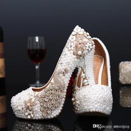 Wholesale White Ecru Shoes - Crystal wedding shoes pearl handmade bridal shoes peacock rhinestone white female high heels platform shoes big size