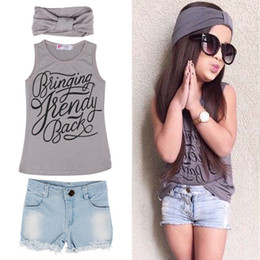 Wholesale Baby Girls Denim Vest - Baby Kids Summer Clothes Girls Vest Top+Denim Pants Shorts+Scarf 3 Pcs Suit Outfit Clothing Set 5 s l