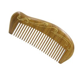 Wholesale Sandalwood Carvings - ling Wide Tooth Wood Pocket Hair Combs Natural Handmade Sandalwood Birdy Carving Hair Brush Comb No Static Massage Hair StyiBrush Comb Gift