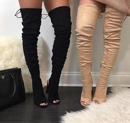 Großhandel Strap Wrapped Kniehohe Stiefel Damen Stilettos High Heels Offene Spitze Frühling Booties Offene Fersen Custom Wide Fit Schuh Weiblich Von