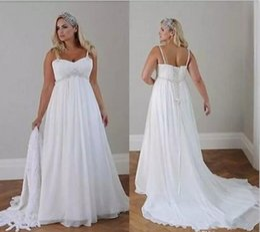 Wholesale Casual Empire Waist Wedding Dress - Plus Size Casual Beach lace-up Wedding Dresses 2018 Spaghetti Straps Beaded Chiffon Floor Length Empire Waist Elegant Bridal Gowns EZ07