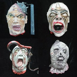 Wholesale Breaking Head - Halloween Props Bloody Behead Broken Head Prank Prop Scary Halloween Supplies Hanging Head Blood Bleeding Head 6 Types Available