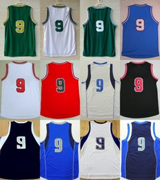 Wholesale Mens Logo Shirts - 9 Rajon Rondo 2017 New Mens Cheap-Best quality T-shirts Basketball Jerseys embroidered player name logo 100% stitched Green Blue
