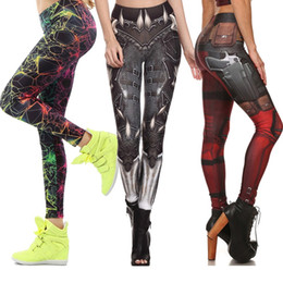 Wholesale Women Yellow Pants - Fashion Pants BARBARIAN Skull print women plus size grid pants sexy Capris Digital print gym leggings trousers PWDK15 WR