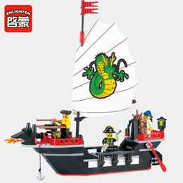 Wholesale Diy Blocks Pcs - Enlighten 301 Building Blocks Pirate Ship Dragon Boat Building Blocks 211+pcs Educational DIY Blocks Playmobil Toys For Children