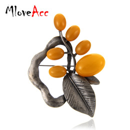 Wholesale leaf shaped beads - MloveAcc European New Style Leaf Shape Brooches & Pin Neon Yellow Beads Charm Women Collar Brooch Pins Accessories
