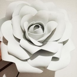 Wholesale 3d Rose Wall - Hot 3D 20cm Wedding decoration Party Supplies Large Artificial flowers Pink White Yellow Handmade Romantic Party paper flower foam roses