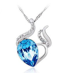 Wholesale Necklace Aquamarine - Chinese Occident Style 925 Silver Necklace Love Charm Aquamarine Blue Austrian Crystal Pendant Jewelry Swarovski Elements NO CHAIN