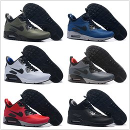 Wholesale High Ankle Sneakers For Men - 2018 New Air Cushion 90 Running Shoes For Mens Mid Ankle Sports Shoes Cheap High Frequency Quality Outdoor Athletic 90S Sneakers Size 7-12