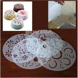 Wholesale Spray Icing Cake - Four injection mould Baked pastries decoration Cake Decorating Stencil Mould Icing Fondant Spray Print Sugar Round Reusable PVC